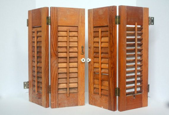 Vintage wooden louvered shutters decorative by for Indoor decorative shutters