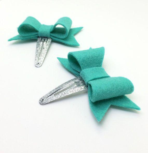 Toddler Hair Clips  Mint Green Felt Hair Bows  by MiniMayDesigns