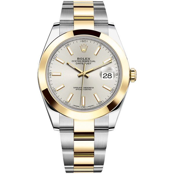 Rolex Datejust 41mm Steel and Yellow Gold 126303 Silver Index Oyster... (12504840 IQD) ❤ liked on Polyvore featuring men's fashion, men's jewelry, men's watches, stainless steel, mens gold and silver watches, mens silver watches, mens gold watches, rolex mens watches and mens stainless steel watches