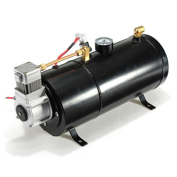 12PSI 12 Volt Air Compressor Tank Pump For Air Horns Vehicle. 12psi 12 Volt Air Compressor Tank Pump For Air Horns Vehicle  	  	description:  	12 Volt Air Compressor For On Board Vehicle Air Horns.  	can Be Installed On Almost Anywhere And At Any Angle Of The Vehicle.  	operates On A 12v Dc Power Source And Pumps About 1 Cfm 40 Psi.  	equipped With Security Functions If The Compressor Goes Over 176 Degrees.  	will Automatically Shut Off And Restart When It Get Back Down To 158 Degrees.  	can…