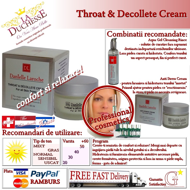 Throat & Decollete Cream - confort si relaxare! este crema cosmetica profesionala special dedicata pielii sensibile a gatului si decolteului. Hidrateaza si furnizeaza elementele nutritive necesare pielii, ii creste fermitatea si-i asigura maxima protectie impotriva elementelor nocive din mediu.