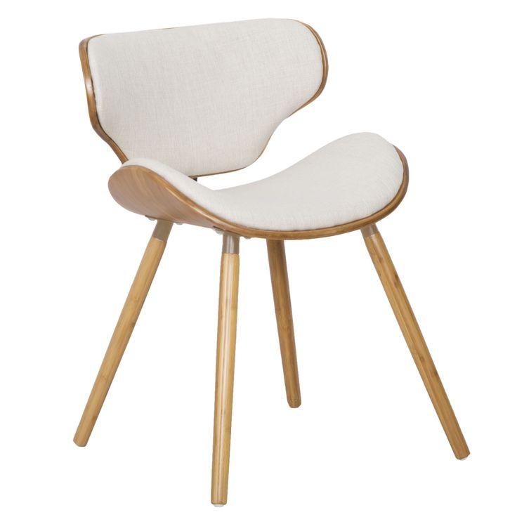 Sedia in legno di bambù con seduta e schienale imbottiti rivestiti di tessuto lino.