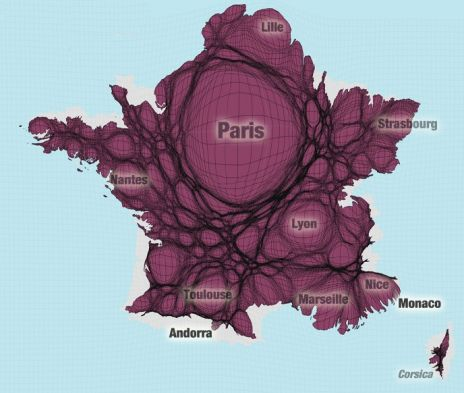 La France selon la répartition de sa population (Worldmapper)