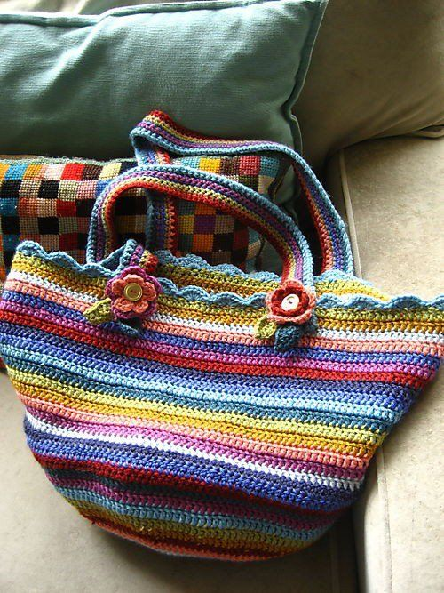 "♡ Free and easy crochet pattern for bag by Lucy at Attic24.  Written in ""UK/English"" terminology.  Fairly easily translated.  Highly adjustable pattern to achieve desired size.  End results would not be the same as hers, as the yarn she used is (probably) not available in the states."