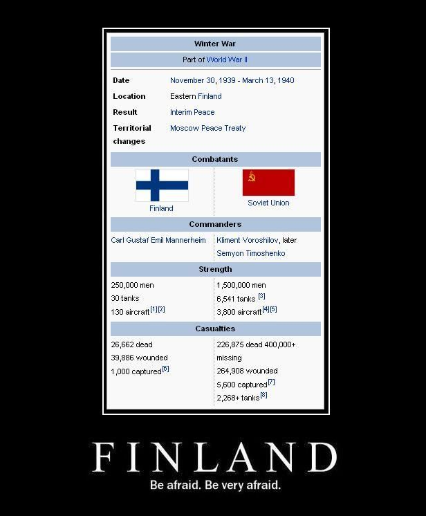 Winter War stats: Finland vs. Soviet Union. We put up a good fight!