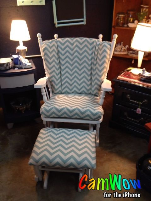 Reupholstered glider rocker and ottoman