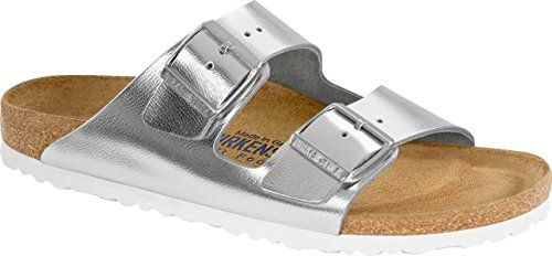 Birkenstock Women Arizona Leather SoftFootbed Metallic Silver 40 M EU >>> Read more  at the image link. (This is an Amazon affiliate link and I receive a commission for the sales and I receive a commission for the sales)