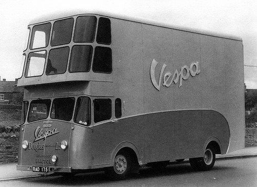 1955 Douglas-Vespa delivery truck. What the hell are u delivering that would require that many windows?