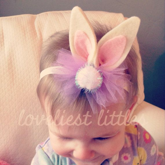 Bunny Ears Tulle Bow Headband // Easter // Spring // Baby on Etsy