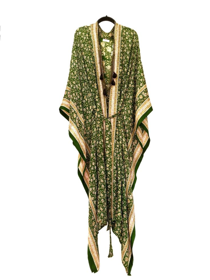 Silk kimono kaftan / beach cover up / in a green floral with and indian ethnic paisley border print by Bibiluxe on Etsy https://www.etsy.com/listing/287425399/silk-kimono-kaftan-beach-cover-up-in-a