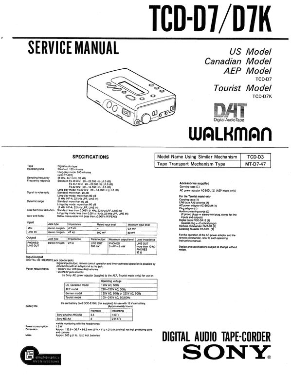 Sony TCD-D7 DAT , Original Service Manual PDF format suitable for Windows XP, Vista, 7 DOWNLOAD