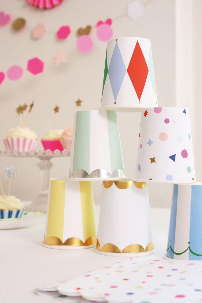 Meri Meri 'Toot Sweet' multi-coloured tableware for children's parties, published by Bobby Rabbit