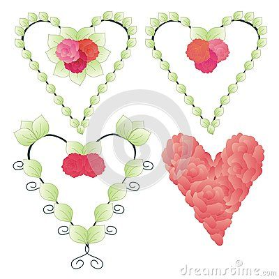 Set of decorative heart shapes with roses and leaves
