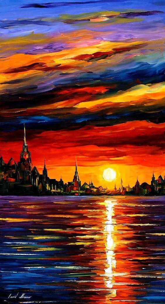 Decoración de la pared puesta del sol - cielo de la mañana, Pintura al óleo de cielos, el sol pared arte, arte urbano, Ocean Home Decor, mar lienzo, Leonid Afremov