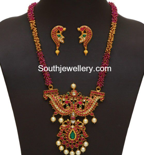 Ruby Beads and Gold Balls Chain with Peacock pendant photo