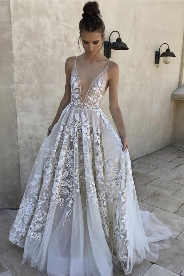 ab30aa0e72 Sexy A Line Deep V-Neck Ivory Tulle Long Prom Dress with Appliques V -Back