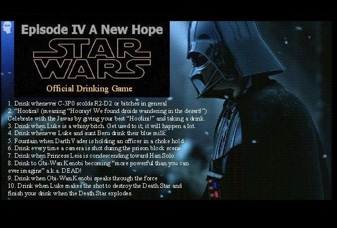 Star Wars Episode Iv A New Hope Official Drinking Game Drinking Games Star Wars Drinks Star Wars Episode Iv