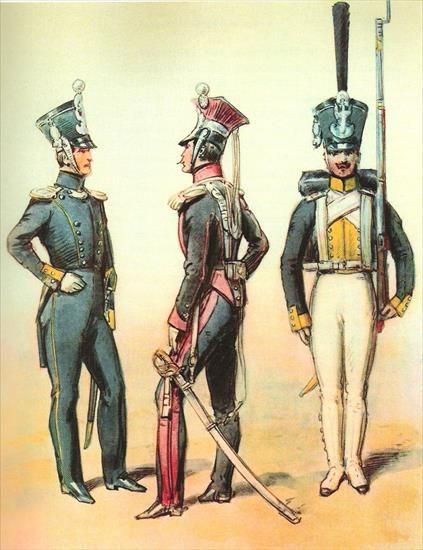 Oficer strzelców pieszych,oficer 1 pułku ułanów, grenadier piechoty liniowej.1828-1830