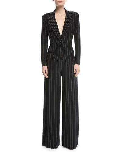 cca9b34bbd37 TW574 Norma Kamali Tuxedo V-Neck Pinstripe Jumpsuit