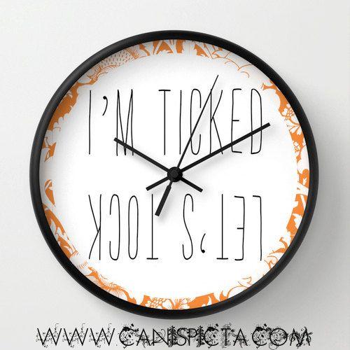 Floral Modern Wall Clock Pun Orange Tangerine Bright by CanisPicta