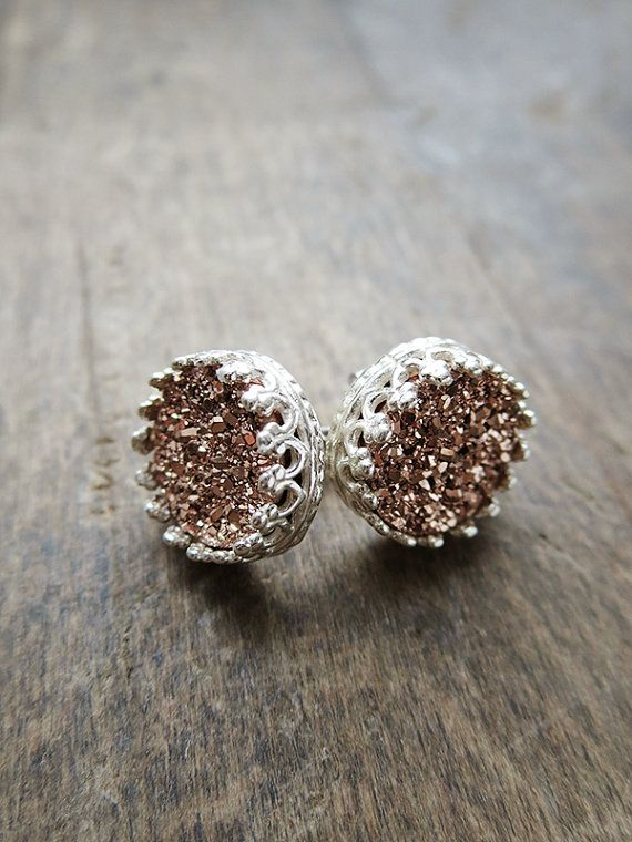 Rose Gold Druzy Studs in Sterling Silver Silver by AmuletteJewelry
