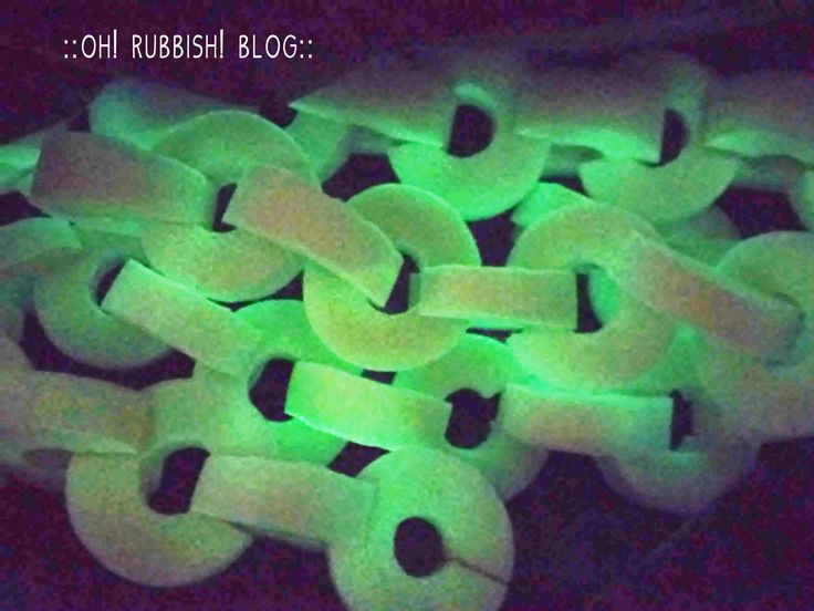 turn upcycled pool noodle into glow in the dark chains halloween outdoor