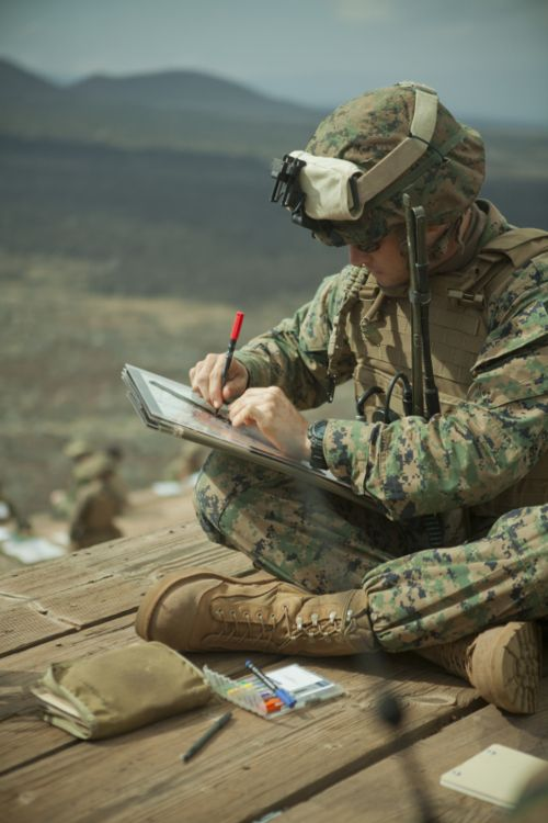 FO.. calling for fire.. hell and destruction is about to come reigning down. Marine Corps Artillery.