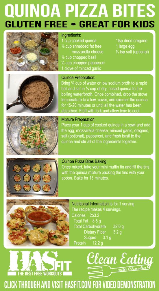 In recognition of Childhood Obesity Awareness Month, Clean Eating with Claudia will be sharing 4 delicious healthy kids recipes. The first in this series is the quinoa pizza bites, a healthy pizza recipe. Quinoa Recipes are high in fiber and protein.
