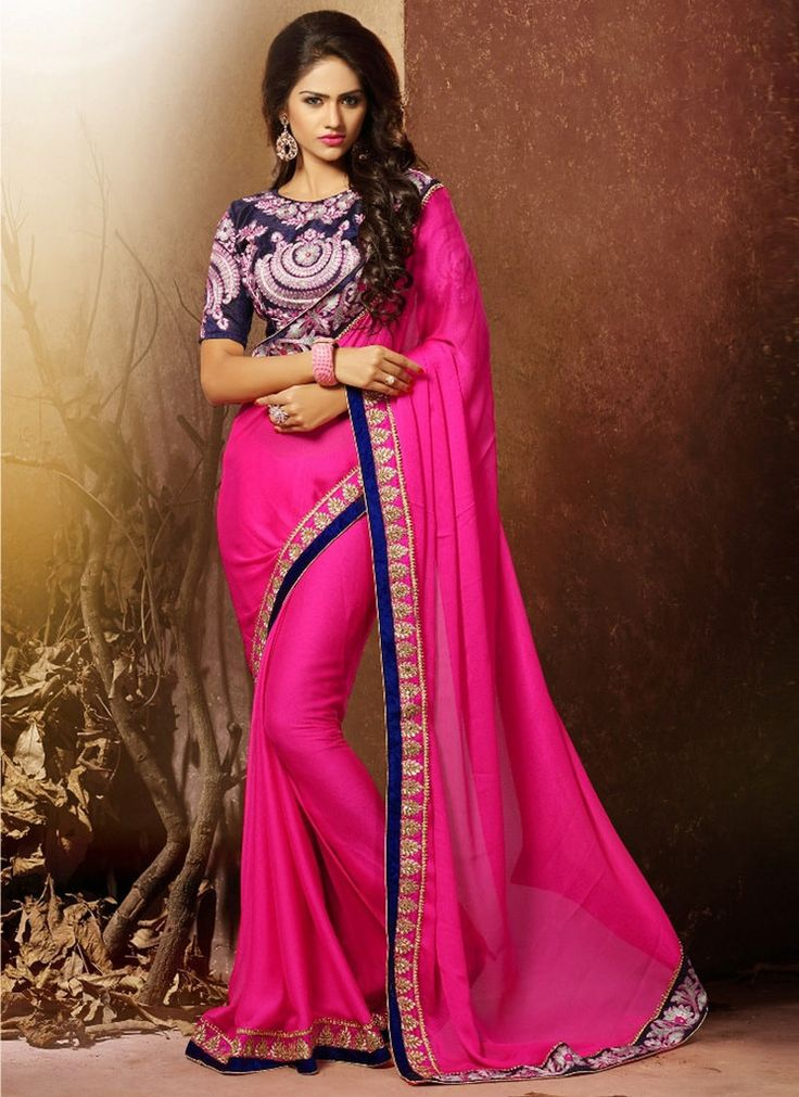 Pink Chiffon Party Wear Sarees Online Shopping