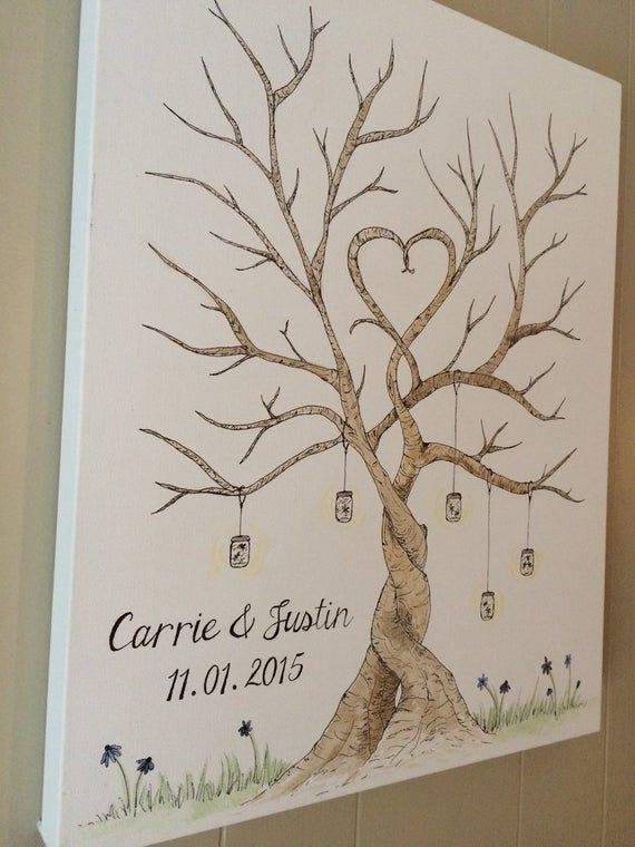 Thumbprint Tree Party Guest Finger Painting C Wedding Fingerprint