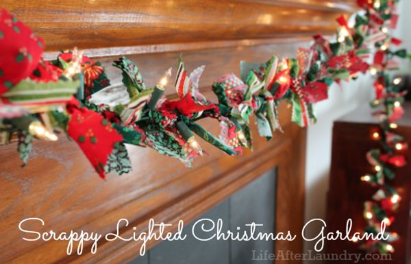 Scrappy lighted christmas garland to mix in with greenery to hang over my wood burning stove and use to hang stockings.