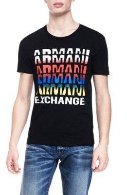 Camiseta Armani Exchange Men's Repeat Logo Tee Black E6X605 #Camiseta #Armani Exchange