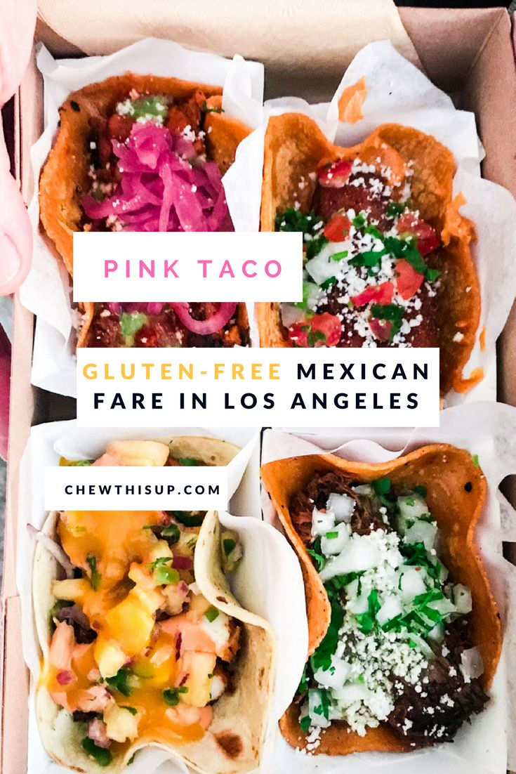 Are you looking for more gluten-free eats in Los Angeles? Or, maybe you're traveling to Los Angeles? You can find gluten-free Mexican fare, including tacos on corn tortillas, at the pink taco restaurant on sunset or the pink taco food truck. Read about pink taco and get the details.| (gluten free in Los Angeles) | chewthisup.com