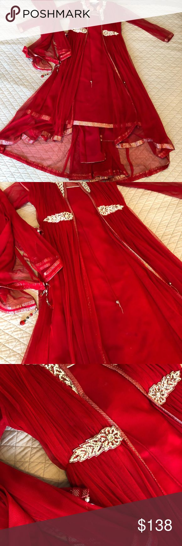 Pakistani / Indian Dress Anarkali Shalwar Kameez Pakistani / Indian Dress Anarkali Shalwar Kameez red - worn once - size small - comes with matching pants and dupatta Dresses