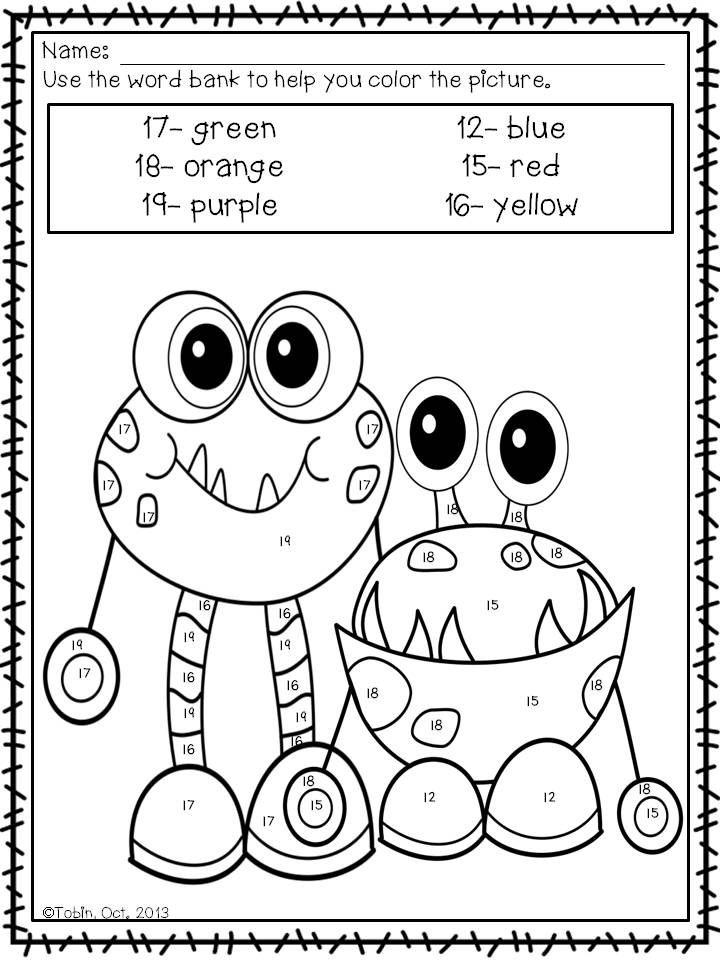 Halloween Color by Number and Sight Word- Coloring Sheets ...