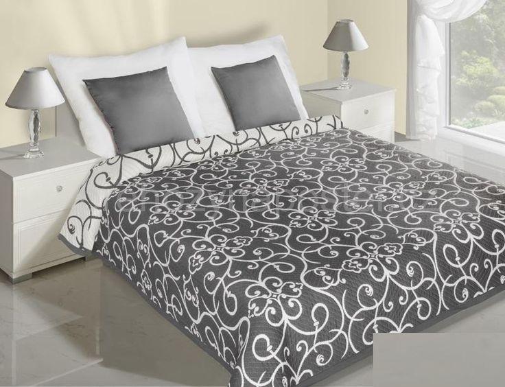 Květiny přehoz na postel šedý s bílými květy