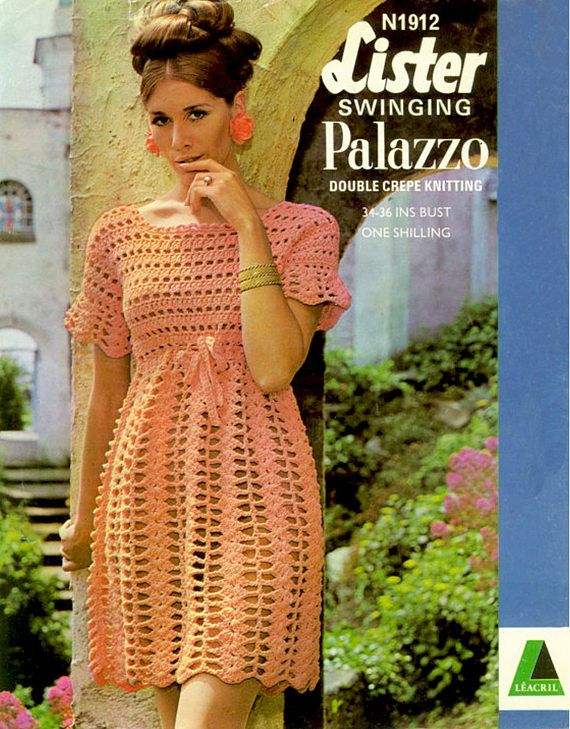 PDF Vintage Ladies  Dress Crochet Pattern 1960s  Lister N1912