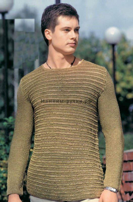 Мужской летний пуловер вязаный спицами