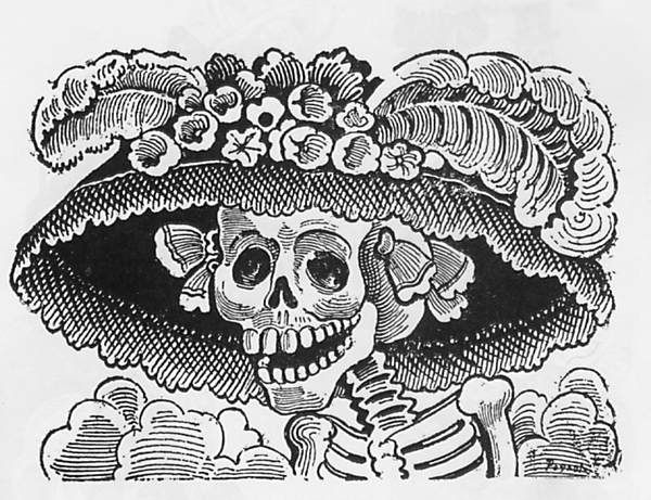 La Calavera Catrina ('The Elegant Skull') is a 1910 zinc etching by Mexican printmaker José Guadalupe Posada. The image has since become a staple of Mexican imagery, and often is incorporated into artistic manifestations of the Day of the Dead in November, such as altars and calavera costumes. The etching was part of his series of calaveras, which were humorous images of contemporary figures depicted as skeletons, which often were accompanied by a poem.    Popularized by José Guadalupe…