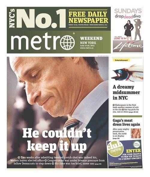 anthony weiner jokes | Weiner He Couldn't Keep It Up - Funniest Weiner Headlines