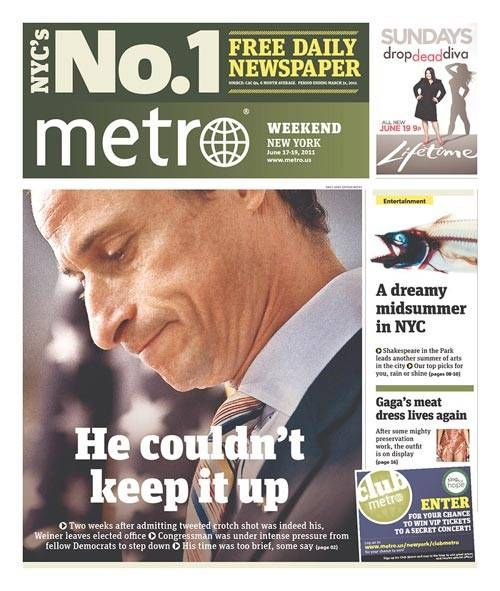 anthony weiner jokes | Weiner He Couldn't Keep It Up - Funniest Weiner Headlines