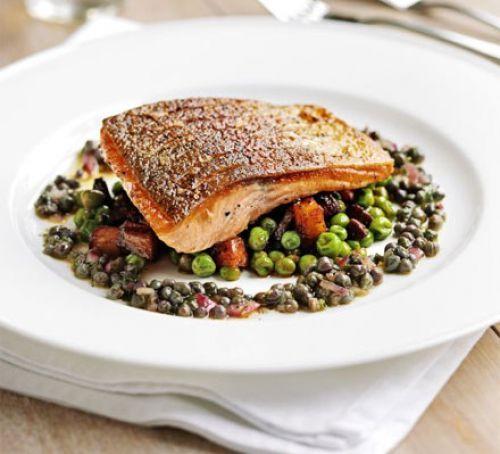 Pan-fried sea trout, peas & chorizo fricassée