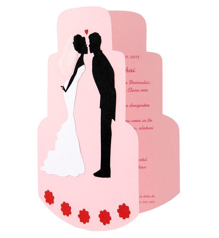 Invitatie nunta realizata din carton de culoare roz cu model mire si mireasa realizat din carton aplicat manual in multiple straturi