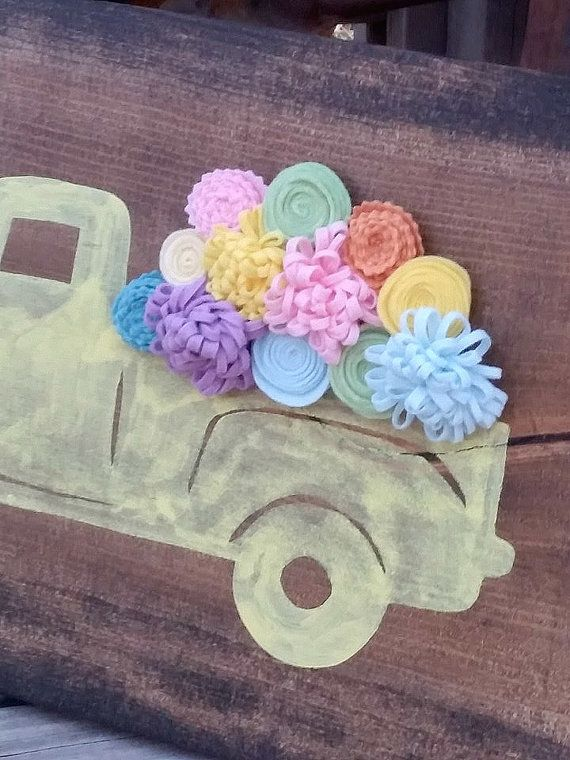 Spring Sign  Old Truck Sign  Spring Flowers  Rustic Truck