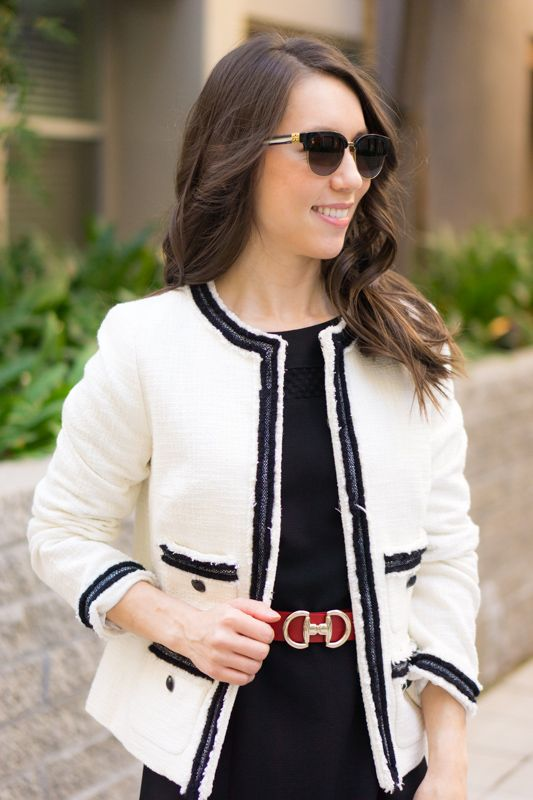 f12e6cddfd9f Chanel-inspired blazer | Talbots Provence Tweed Jacket |Chanel-inspired  tweed jacket | Ivory blazer | Work outfit inspiration | Petite fashion and  style ...