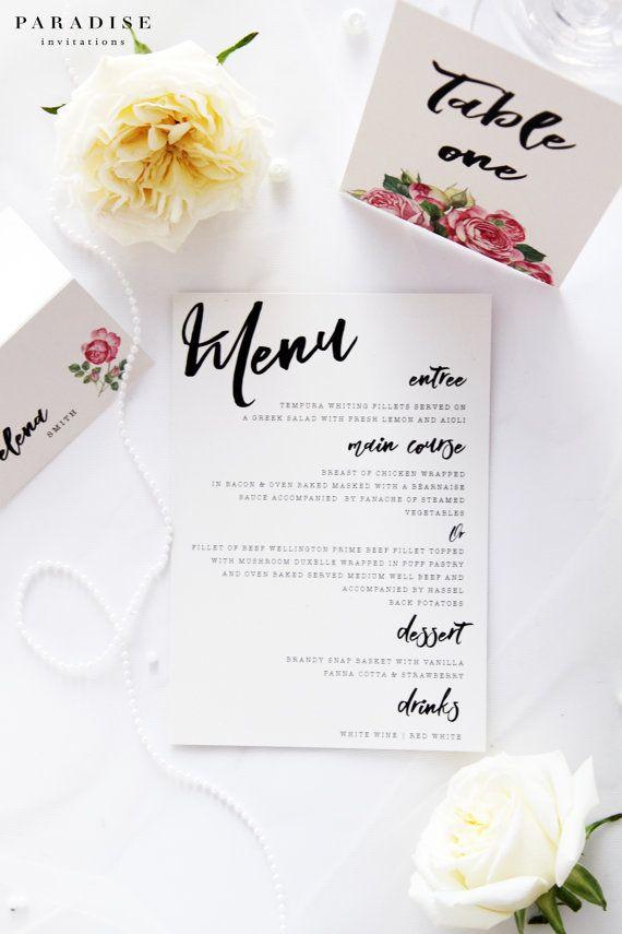 Isabella Menus, Printable File or Printed Wedding Menus, Custom Made, Modern Flowers Menus