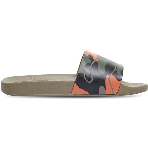 Valentino Camouflage-print rubber pool slides (450 BAM) ❤ liked on Polyvore featuring men's fashion, men's shoes, shoes, valentino mens shoes, mens rubber slip on shoes, mens slipon shoes, mens monk strap shoes and mens camo shoes