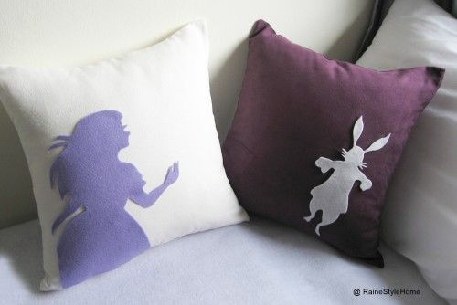 Alice And Rabbit In Wonderland. White and Purple Cushion Covers Set.