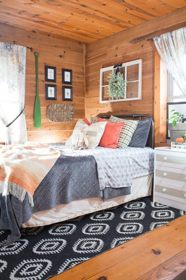 Adding Warm Touches To A Fall Guest Room Creative Cain Cabin Interior Design Bedroom Home Decor Bedroom Bedroom Design Autumn touches in guest bedroom