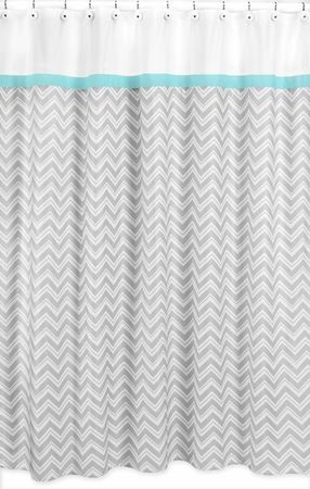 Zig Zag Chevron Turquoise, White and Gray Shower Curtain for the kids bathroom :)